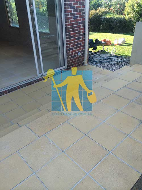 Hobart before and after cleaning sandstone floor