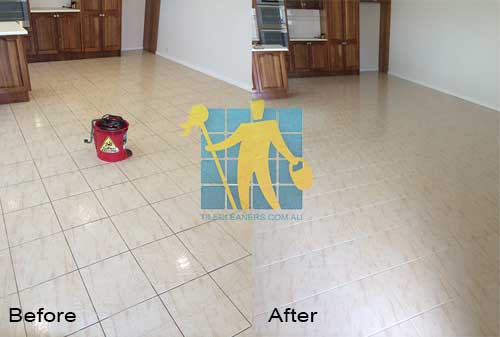 porcelain kitchen floor before and after cleaning and sealing