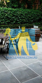 Gold Coast/Benowa bluestone tiles black outdoor white grout lines with furniture