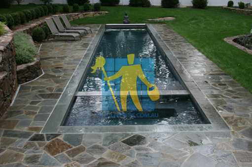 bluestone tiles around swimming eclectic pool irregular shapes cement grout