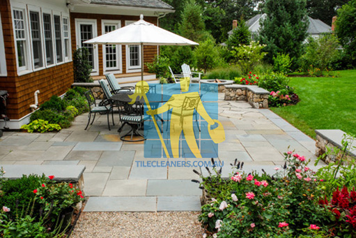 bluestone tiles outdoor rectangular irregular dining patio