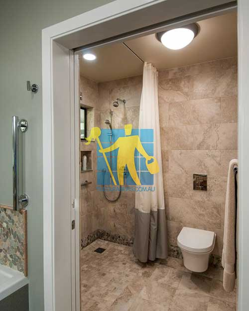 Contemporary Master Bathroom with_flush light and yellow Polished Limestone Slab and Rain shower