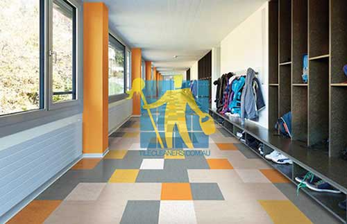 school with grey and orange tile floor