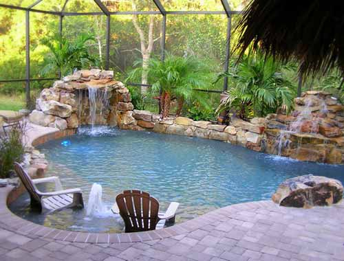 natural swimming pool travertine floor
