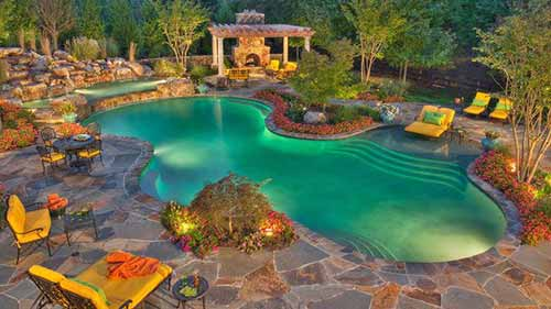 swimming pool with slate patio