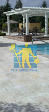 paving stone tumbled marble with bluestone coping traditional pool Perth