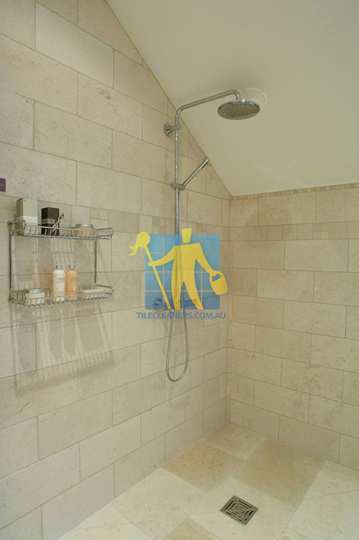 marble tile tumbled acru bathroom shower 3