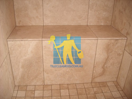 stone tile bench in traditional bathroom sealed Perth. PERTH CLEANING SHOWER TILES   PERTH TILE CLEANERS