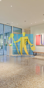 terrazzo modern entry floor tiles polished shiny light color Adelaide