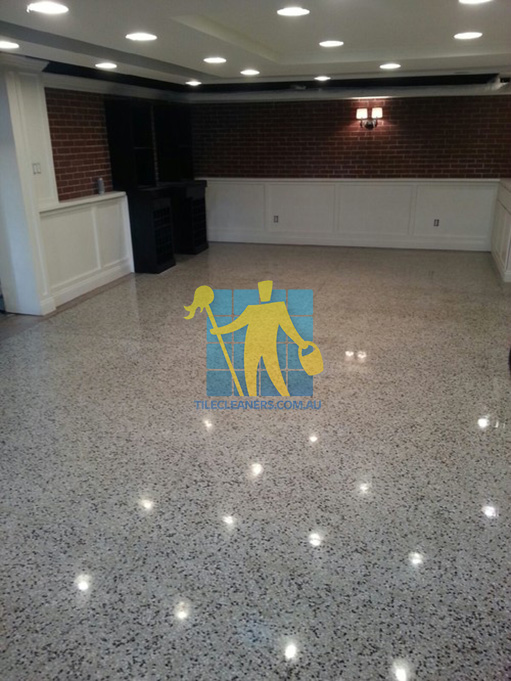 terrazzo tiles polished light color in basement Adelaide