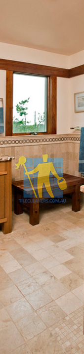 travertine tiles floor bathroom tumbled with mosaic corner wooden cabinets Adelaide/Burnside