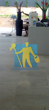 travertine tiles in large empty livingtoom large tiles after cleaning by tile cleaners Perth