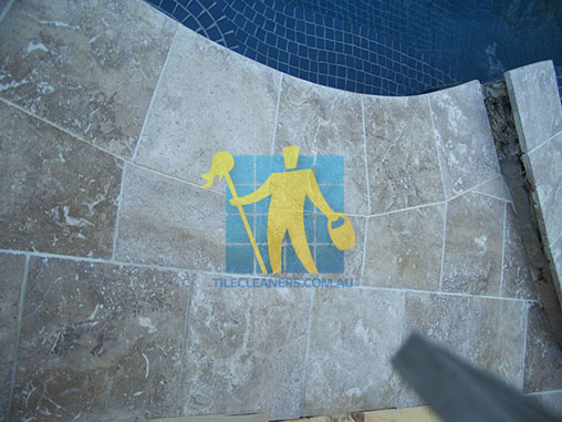 outdoor pool travertine tiles sealed