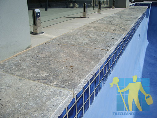 outdoor travertine tiles sealed