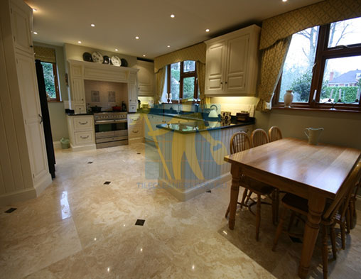 Polished Travertine Stone Tile Floor Kitchen & Dining