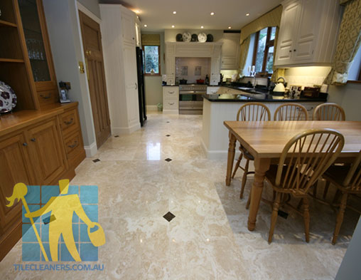 Polished Travertine Stone Tile Floor Kitchen & Dining Sealed